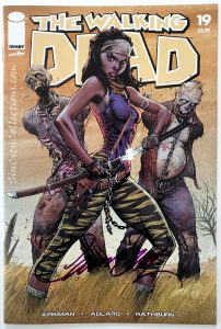 Walking Dead #19 (Image '18) J. Scott Campbell color trade dress variant cover, signed by J. Scott @ Torpedo Comics in Las Vegas on 11/18/2018, 1st Appearance of Michonne Hawthorne