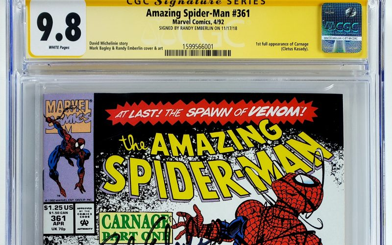 Amazing Spider-Man #361 (Marvel, '92), 1st Appearance of Carnage, CGC SS 9.8, Signed by Randy Emberlin Header