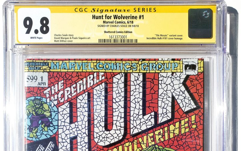 Hunt for Wolverine #1 (Marvel, '18) Shattered Comics Mosaic Variant Edition Cover, CGC SS 9.8, Signed by Charles Soule Header