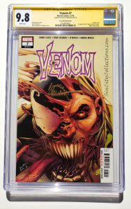 Venom #7 (Marvel, '18), Secret Tongue Out Variant, 1st Appearance of Dylan Brock (Eddie Brock's son), CGC SS 9.8, Signed by Donny Cates | Starting Bid $149.98